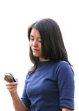 Girl sending SMS Stock Photography