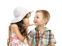 Girl sends kiss boy Stock Images