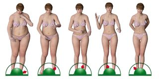 Girl sequence on scales that slimming Stock Photo