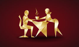 Girl serves coffee to his boss. origami style Stock Photography