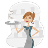 Girl serving coffee stock illustration
