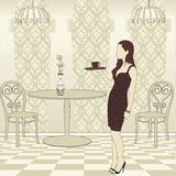 Girl Serving Coffee Royalty Free Stock Photos