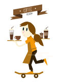 Girl is serving coffees with skateboard. Royalty Free Stock Image