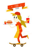 Girl is serving fast food with skateboard. Royalty Free Stock Images