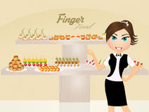 Girl serving finger food. Illustration of girl serving finger food Stock Images