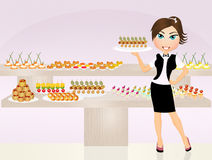 Girl serving finger food. Illustration of girl serving finger food Stock Photography