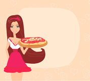 Girl serving pizza Royalty Free Stock Images