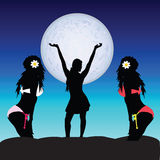 Girl set on moonlight vector Stock Images
