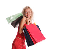 Girl with set of purchases Stock Photos
