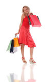 Girl with set of purchases Royalty Free Stock Photo