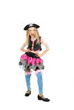 Girl seven years old wearing a pirate costume carnival. Child Dressed as Pirate. Girl in Fun Poses on White Background royalty free stock images