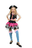 Girl seven years old wearing a pirate costume carnival. Child Dressed as Pirate. Girl in Fun Poses on White Background stock photo