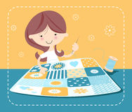 Girl Sewing Stock Photo