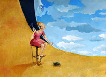 Girl sews the sky. With a land turtle watches Royalty Free Stock Image