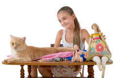The girl sews toys from fabric Royalty Free Stock Image
