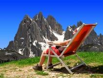Girl in the Sexten Dolomites Stock Image