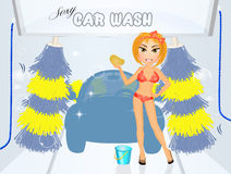 Girl sexy car wash Stock Images
