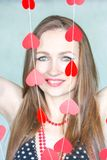 Girl sexy retro with hearts. on white. Background charming woman. vertical sheet orientation Stock Photo