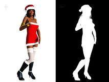 Girl in sexy Santa outfit isolated on white Stock Image