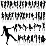 Girl sexy vector in black silhouette Royalty Free Stock Photo