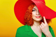Girl in shady hat Royalty Free Stock Image