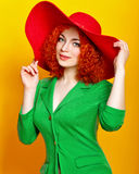 Girl in shady hat Royalty Free Stock Photo