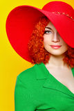 Girl in shady hat Stock Photos