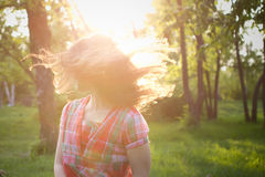 Girl shakes her hair Royalty Free Stock Photo