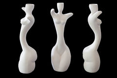 Girl shape ceramic vase. Three girl shape ceramic vase isolated on black background with clipping path Royalty Free Stock Photography