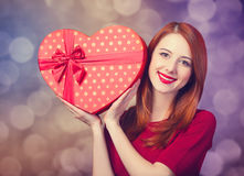 Girl with shape heart box Royalty Free Stock Photos