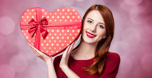 Girl with shape heart box Royalty Free Stock Photography