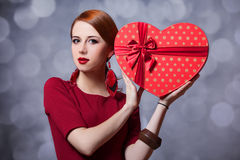 Girl with shape heart box. Royalty Free Stock Photos