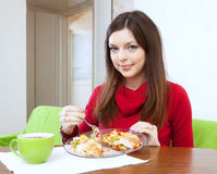 Girl shared lunch for two parts Royalty Free Stock Image
