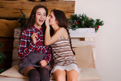 The girl shares the secrets of her friend Stock Photos