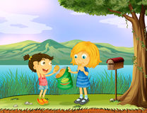 A girl sharing her bread near a mailbox stock illustration