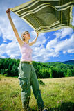 Girl with shawl. A girl with a shawl in the wind Stock Photography