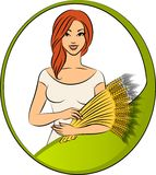 Girl with sheaf of wheat. Beautiful girl with sheaf of wheat Stock Photography