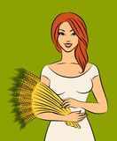 Girl with sheaf of wheat. Royalty Free Stock Photo