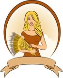 Girl with sheaf of wheat. Royalty Free Stock Image