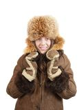 Girl in sheepskin and fox hat Royalty Free Stock Image