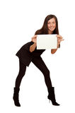 The girl with a sheet of paper Royalty Free Stock Photography