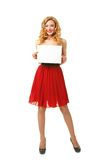 Girl with sheet of paper Royalty Free Stock Photo
