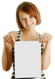 Girl with the sheet of paper Royalty Free Stock Image