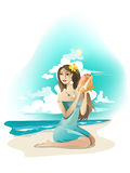 Girl and shell. Young  beautiful girl on  tropical sea coast Royalty Free Stock Photos