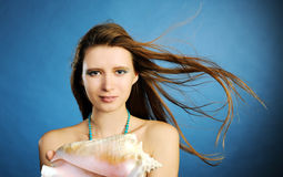 Girl with shell Royalty Free Stock Photography