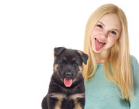 Girl and Shepherd puppy Stock Photos