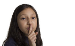 Girl shh. Girl making silence gesture fingering Stock Images