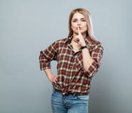 Girl with shh sign Royalty Free Stock Photo