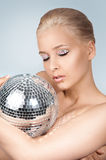 The girl and shining ball Royalty Free Stock Images