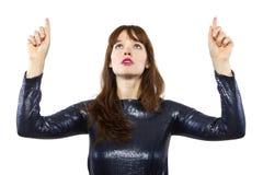 Girl in Shiny Dress Advertising Royalty Free Stock Photo